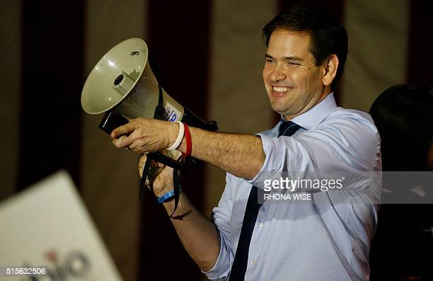 Florida Senator and Republican presidential candidate Marco Rubio speaks at a rally on March 14 2016 in Miami Florida on the eve of crucial primary...