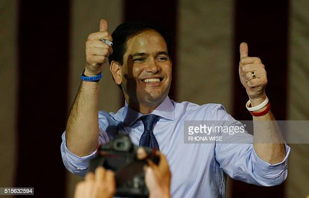 Florida Senator and Republican presidential candidate Marco Rubio thanks supporters at a rally on March 14 2016 in Miami Florida on the eve of...