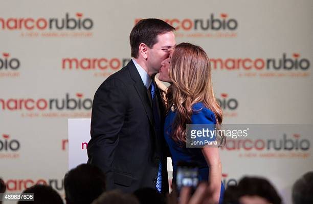 S Florida Senator Marco Rubio and Jeanette Rubio are seen on stage after he announces his candidacy for the Republican presidential nominationAt The...