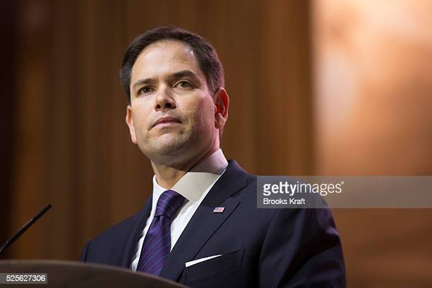 Florida Senator Marco Rubio speaks at CPAC the Conservative Political Action Conference outside of Washington DC The annual political conference...