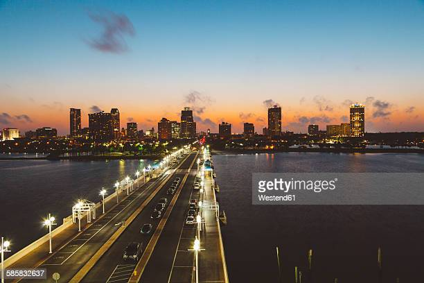 usa, florida, st. petersburg at night - st. petersburg florida stock pictures, royalty-free photos & images