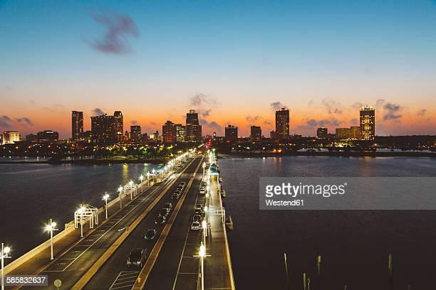 USA, Florida, St. Petersburg at night
