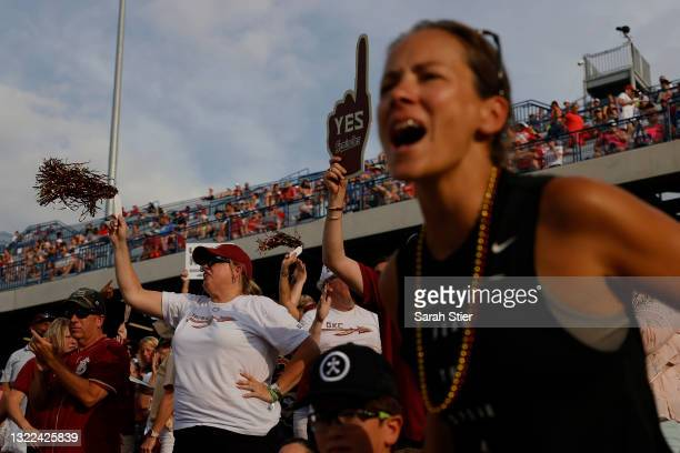 Florida St. Seminoles fans react during the third inning of Game 14 of the Women's College World Series against Alabama on June 07, 2021 at USA...
