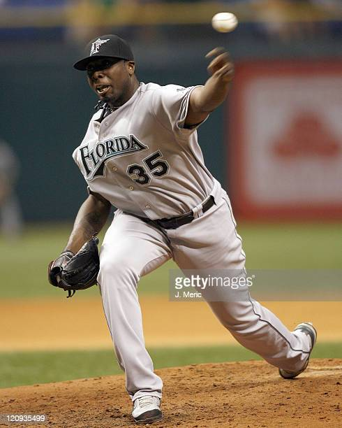 Florida starter Dontrelle Willis makes pitch in Saturday night's game against Tampa Bay at Tropicana Field on May 19 2007 in St Petersburg Florida