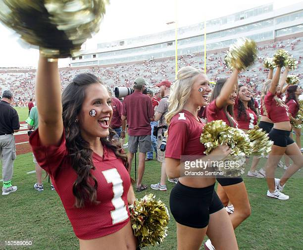 Florida State cheerleaders cheer before the start of the game against Clemson at Doak Campbell Stadium in Tallahassee Florida Saturday September 22...