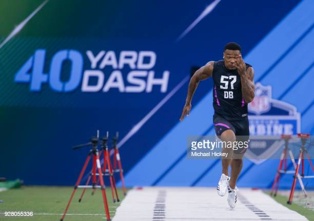 Florida State defensive back Derwin James runs the 40 yard dash during the NFL Scouting Combine at Lucas Oil Stadium on March 5 2018 in Indianapolis...