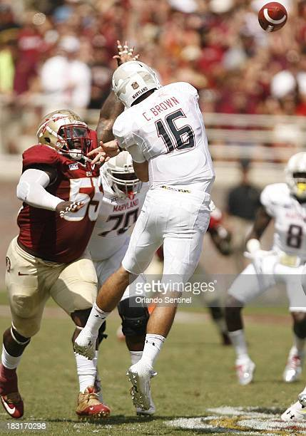 Florida State defensive tackle Jacobbi McDaniel pressures Maryland quarterback CJ Brown during game action at Doak Campbell Stadium in Talahasses...