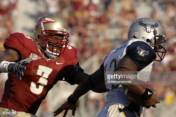 Florida State freshman safety Myron Rolle chases Rice quarterback Joel Armstrong September 23 2006 at Doak Campbell Stadium in Tallahassee The...