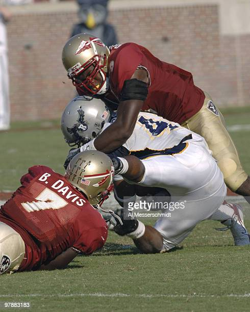 Florida State freshman safety Myron Rolle tackles Rice tailback Quinton Smith September 23 2006 at Doak Campbell Stadium in Tallahassee The Seminoles...