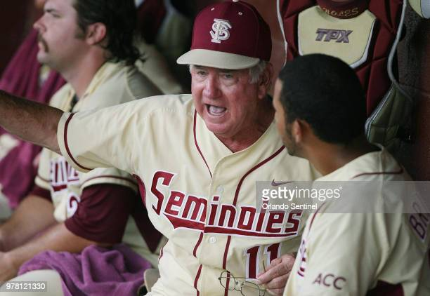 Florida State head coach Mike Martin yells at players in the dugout during the NCAA Super Regional baseball game against Indiana at Dick Howser...