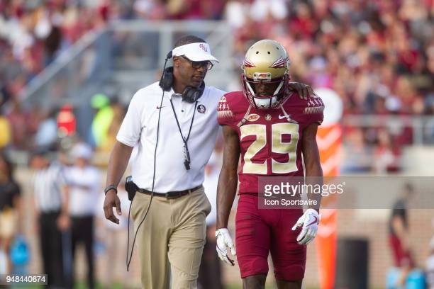 Florida State head coach Willie Taggart coaching wide receiver DJ Matthews during the Florida State spring football game on April 2018 at Bobby...
