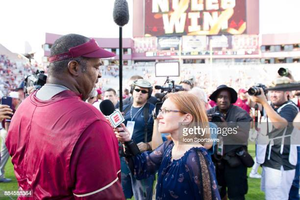 Florida State interim head coach Odell Haggins gives a postgame interview during the game between the Florida State Seminoles and the LouisianaMonroe...