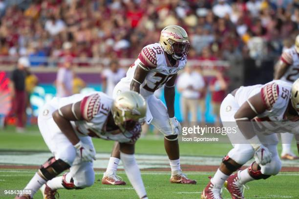 Florida State line backer Leonard Warner II is set during the Florida State spring football game on April 2018 at Bobby Bowden Field at Doak Campbell...