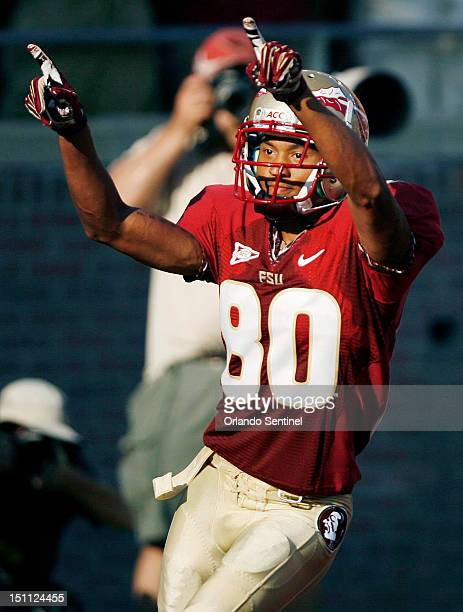 Florida State punt returner Rashad Greene celebrates after a touchdown against Murray State at Doak Campbell Stadium in Tallahassee Florida on...