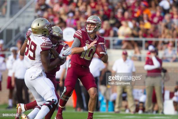 Florida State quarterback Bailey Hockman looks to pass during the Florida State spring football game on April 2018 at Bobby Bowden Field at Doak...