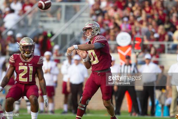 Florida State quarterback Bailey Hockman passes the ball during the Florida State spring football game on April 2018 at Bobby Bowden Field at Doak...