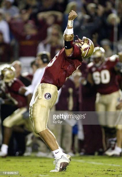 Florida State Quarterback Chris Rix celebrates a fourth quarter touchdown against North Carolina State University at Doak Stadium on November 15th...