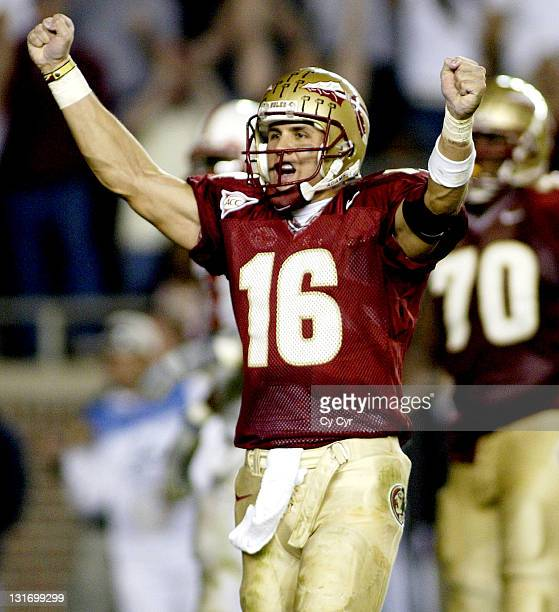 Florida State Quarterback Chris Rix celebrates a fourth quarter touchdown against North Carolina State University at Doak Stadium in Tallhassee...