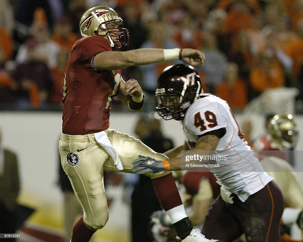 Florida State quarterback Drew Weatherford releases a pass
