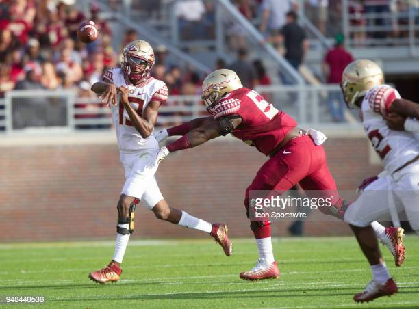 Florida State quarterback James Blackmon throws a pass during the Florida State spring football game on April 2018 at Bobby Bowden Field at Doak...