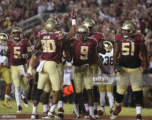 Florida State receiver Rashad Green celebrates after he scores a touchdown in the third quarter against Notre Dame at Doak Campbell Stadium in...