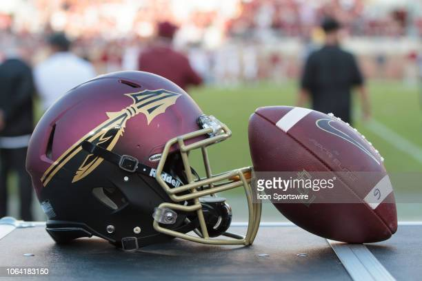 Florida State Seminoles alternate helmet and football during the game between the Florida State Seminoles and the Boston College Eagles on November...