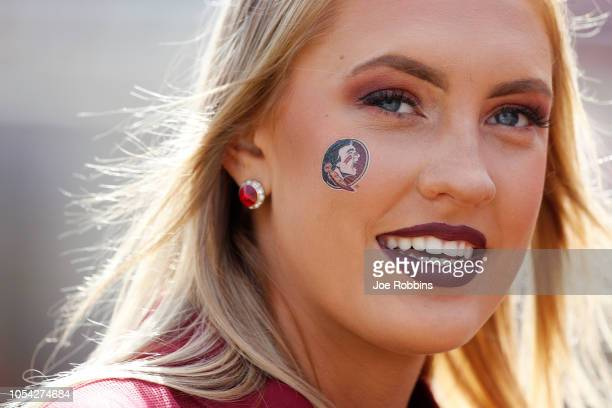 Florida State Seminoles cheerleader looks on before the game against the Clemson Tigers at Doak Campbell Stadium on October 27 2018 in Tallahassee...