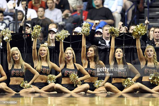 Florida State Seminoles cheerleaders perform against the St Bonaventure Bonnies during the second round of the 2012 NCAA Men's Basketball Tournament...