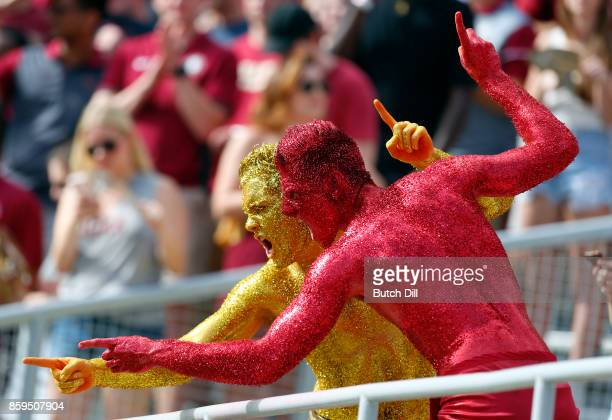 Florida State Seminoles fans cheer during the first half of an NCAA football game against the Miami Hurricanes at Doak S Campbell Stadium on October...