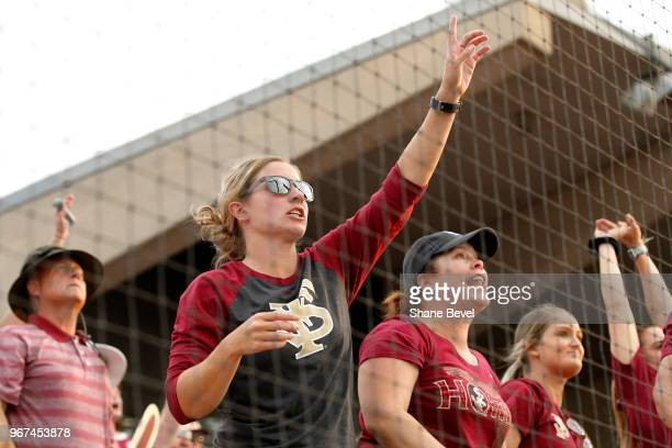 Florida State Seminoles fans cheer on their team against the Washington Huskies during the Division I Women's Softball Championship held at USA...