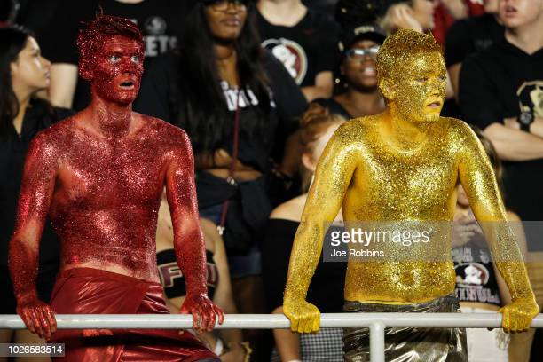 Florida State Seminoles fans react in the second half of the game against the Virginia Tech Hokies at Doak Campbell Stadium on September 3 2018 in...