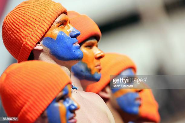 Florida State Seminoles fans wear hats and makeup the Fed Ex Orange Bowl with the Penn State Nittany Lions at Dolphins Stadium on January 3 2005 in...