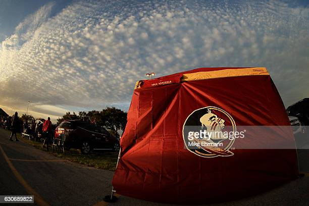 Florida State Seminoles flag is displayed prior to their Capitol One Orange Bowl game against the Michigan Wolverines at Sun Life Stadium on December...