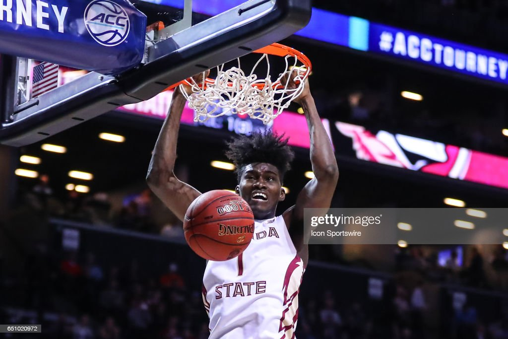 Florida State Seminoles forward Jonathan Isaac (1) dunks during the first half of the 2017 New York Life ACC Tournament Quarterfinal round game between the Florida State Seminoles and the Virginia Tech Hokies on March 9, 2017, at the Barclays Center in Brooklyn,NY.