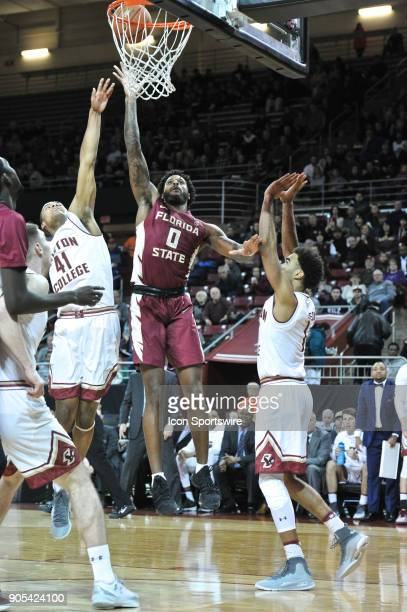Florida State Seminoles forward Phil Cofer goes up for an easy 2 points During the Florida State Seminoles game against the Boston College Eagles at...
