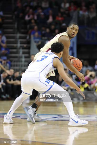 Florida State Seminoles guard Trent Forrest with the ball guarded by Duke Blue Devils guard Tre Jones during the 2nd half the of the ACC Tournament...