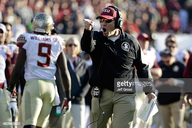 Florida State Seminoles head coach Jimbo Fisher reacts to a play against the Oregon Ducks during the College Football Playoff Semifinal at the Rose...