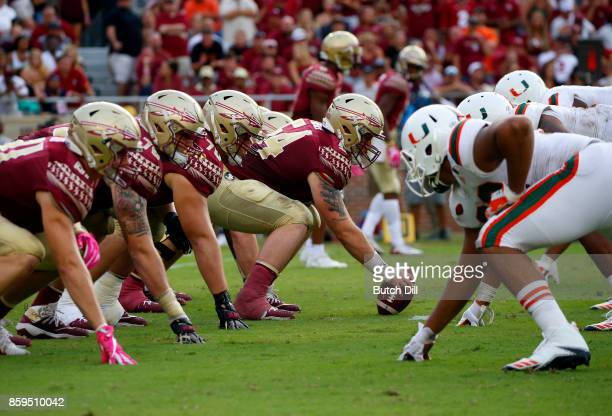 Florida State Seminoles line up against the Miami Hurricanes during the second half of an NCAA football game at Doak S Campbell Stadium on October 7...