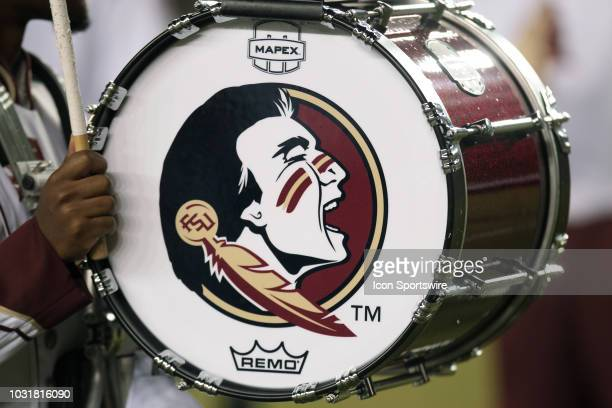 Florida State Seminoles logo on the side of a drum during the game between the Florida State Seminoles and the Samford Bulldogs at Doak Campbell...