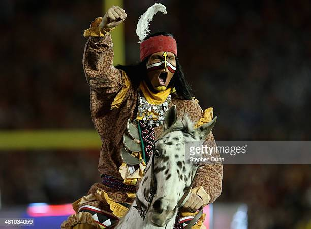 Florida State Seminoles mascots Renegade and Osceola perform prior to the 2014 Vizio BCS National Championship Game against the Auburn Tigers at the...