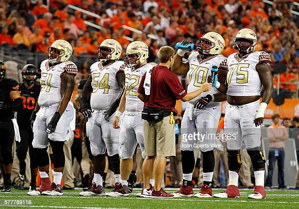 Florida State Seminoles offensive tackle Bobby Hart Florida State Seminoles guard Tre' Jackson Florida State Seminoles center Austin Barron Florida...