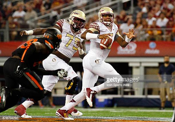 Florida State Seminoles quarterback Jameis Winston during a NCAA football game between the Florida State Seminoles and the Oklahoma State Cowboys in...