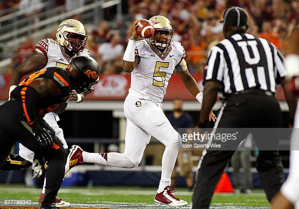 Florida State Seminoles quarterback Jameis Winston goes 28yards TD during a NCAA football game between the Florida State Seminoles and the Oklahoma...