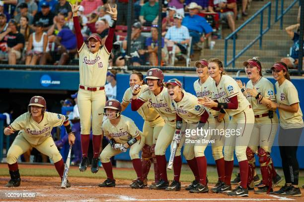 Florida State teammates cheer after a home run hit by Elizabeth Mason of Florida State during game two of the Division I Women's Softball...