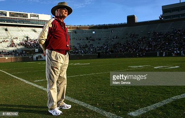 Florida State University head football coach Bobby Bowden poses for photos during a team practice on April 12 2008 in Gainesville Florida