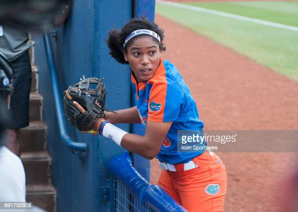 Florida State University third baseman Aleshia Ocasio after making a play on a foul ball versus Louisiana State University during the 2017 Division I...