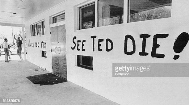 """Florida State University's Chi Phi fraternity celebrates the execution of Ted Bundy with a large banner that says, """"Watch Ted Fry, See Ted Die!"""" as..."""