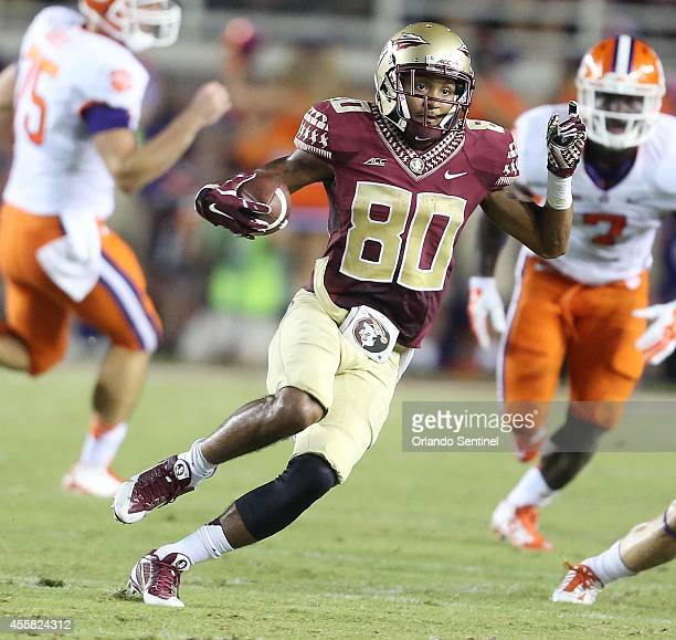 Florida State wide receiver Rashad Greene runs after a catch against Clemson during the first half at Doak Campbell Stadium in Tallahassee Fla on...