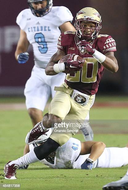 Florida State wide receiver Rashad Greene runs after a catch during action against The Citadel at Doak Campbell Stadium in Tallahassee Fla on...