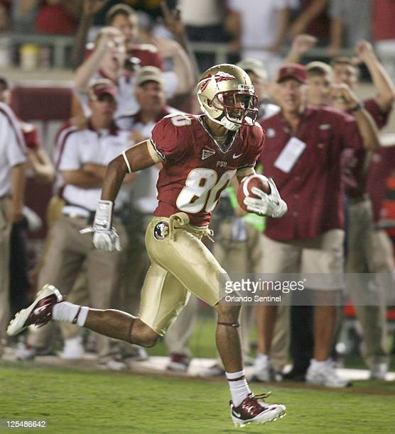 Florida State wide receiver Rashad Greene runs for a 37yard touchdown against Oklahoma in the fourth quarter at Doak Campbell Stadium in Tallahassee...
